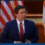 Gov. Ron DeSantis at today's news conference.
