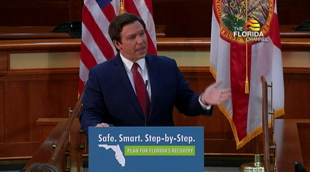 Gov. Ron DeSantis at last week's announcement on reopening.