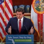Gov. Ron DeSantis speaking about the budget and other matters Tuesday. (© FlaglerLive via Florida Channel)