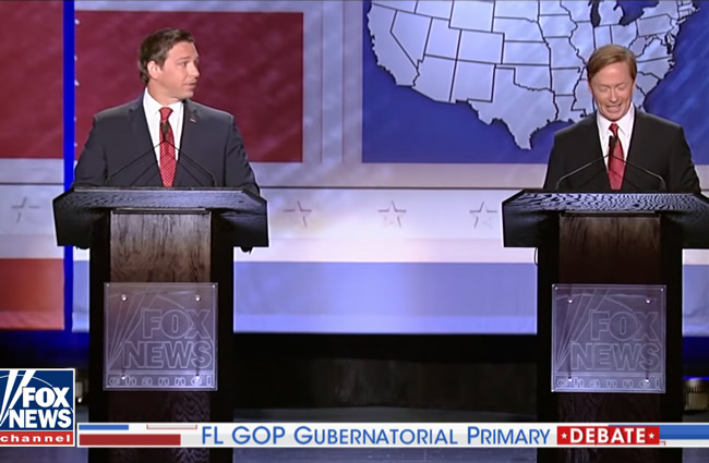 Ron DeSantris, left, and Adam Putnam in their debate in Orlando Thursday evening.
