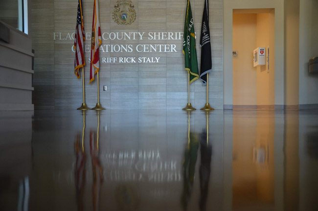 The deserted Sheriff's Operations Center Wednesday, a day ahead of its latest round of testing. (© FlaglerLive)