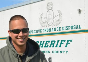 Det. Justin Anderson is a team leader with the St. Johns County Sheriff's Bomb Squad. (© FlaglerLive)