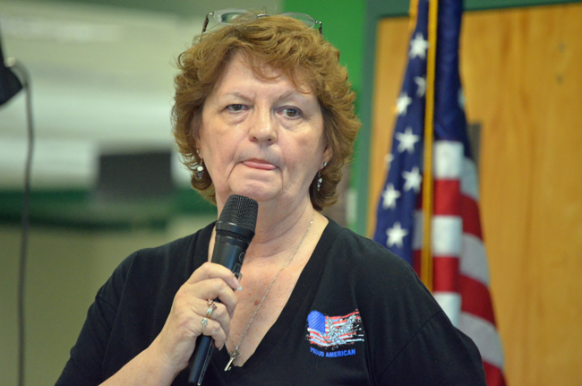 Fact-checking optional: Diane Kepus at the Flagler County tea party group meeting Tuesday. (© FlaglerLive)