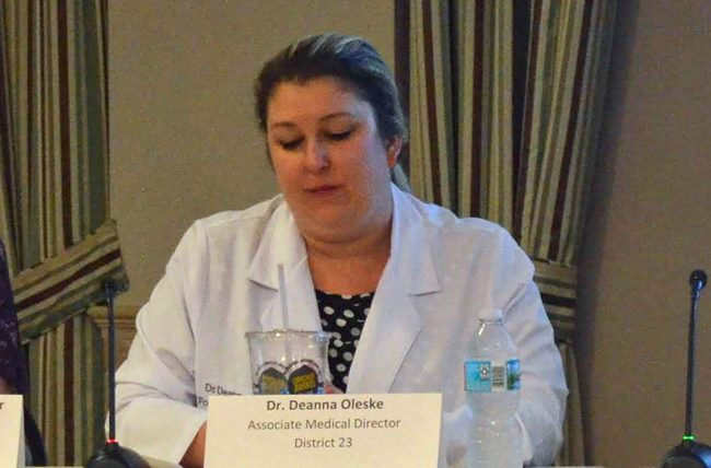 Dr. Deanna Oleske, the assistant medical director at the medical examiner's District 23, which includes Flagler, Putnam and St. Johns counties. (© FlaglerLive)