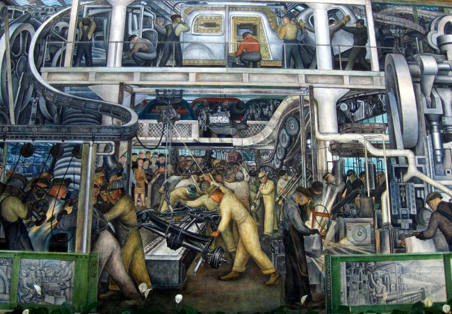 Diego Rivera's 'Detroit,' a detail from one of Rivera's murals on the car industry. Click on the image for larger view.