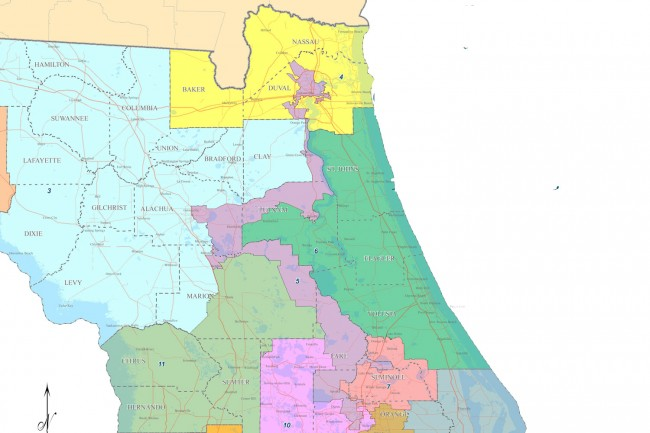 Democratic U.S. Rep. Corrine Brown of Jacksonville's District 5, in purple, wraps around the western portion of District 6, in green, that includes all of Flagler County, and that is represented by Republican Rep. Ron DeSantis. The redrawing of District 5 would almost certainly affect District 6.