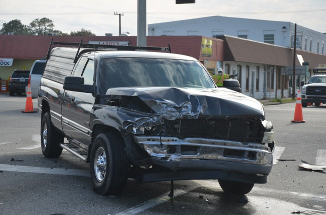 The Dodge was crossing U.S. 1, going east, when Ronald Evans blew a red light and slammed into the Dodge, triggering the crash that took his life.  Click on the image for larger view. (© FlaglerLive)