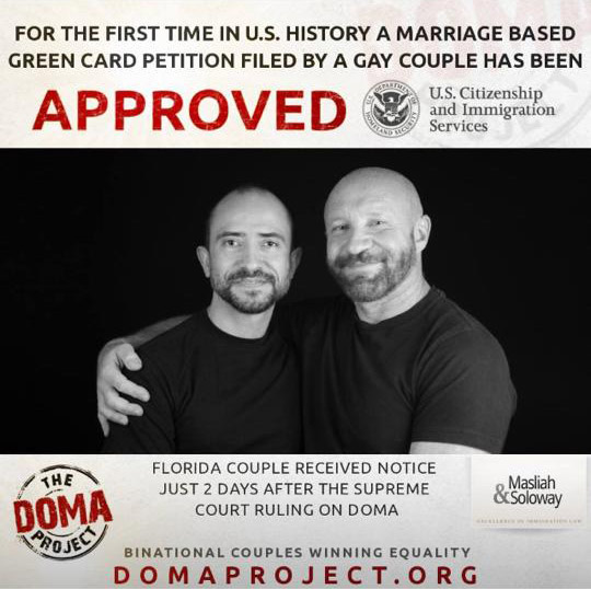 Traian Popov and his Floridian spouse Julian Marsh were quickly featured in an ad celebrating Popov's Green Card.