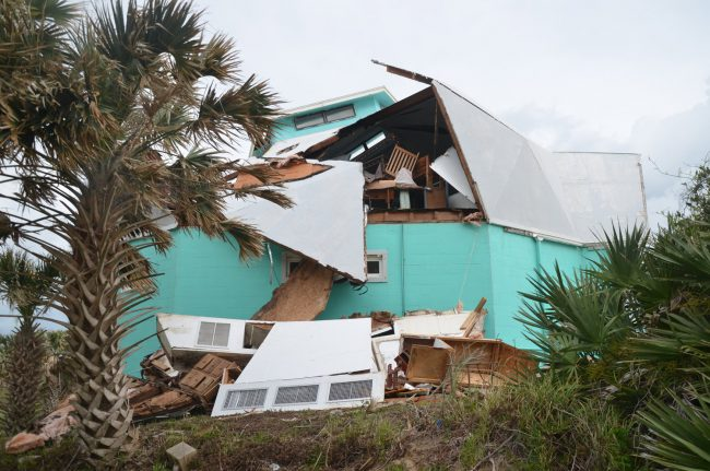 The geodesic dome covered a 5,000 square-foot structure. The owner says he will not rebuild it. (© FlaglerLive)