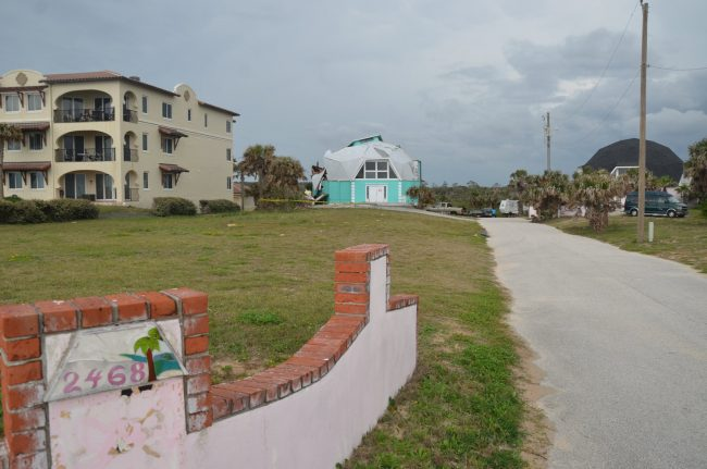 The two dome houses have been at 2468 and 2474 North Oceanshore Boulevard since the early 1980s. Click on the image for larger view. (© FlaglerLive) have