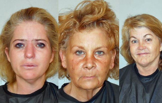 Julie Skaggs, left, and Cynthia Doran, center, were involved in an altercation separately from Christi O'Connor, who was arrested after allegedly becoming belligerent and violent at the Family Life Center in Bunnell.