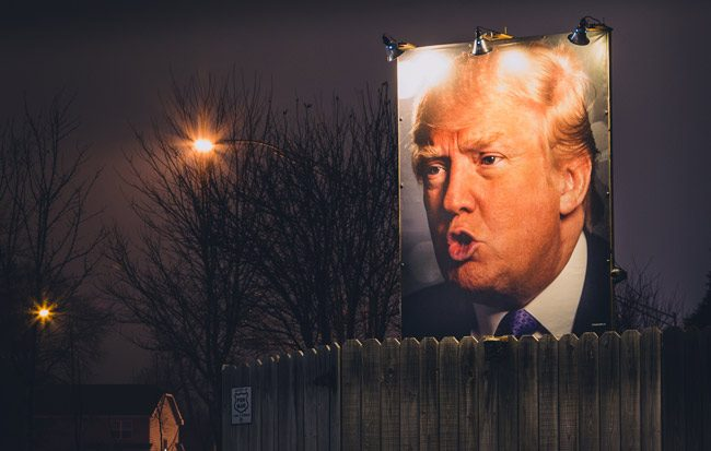 Donald Trump at nightfall. (Tony Webster)
