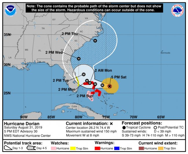 Hurricane Dorian's path continued a dramatic shift east on Saturday.