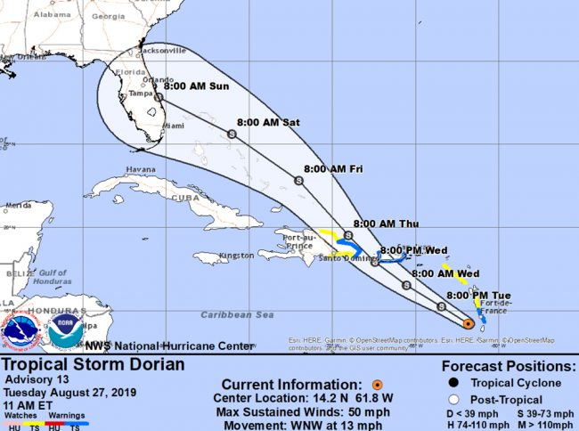 Tropical Storm Dorian now has all of the Florida Peninsula in its forecast cone. Click on the image for larger view. (NOAA)