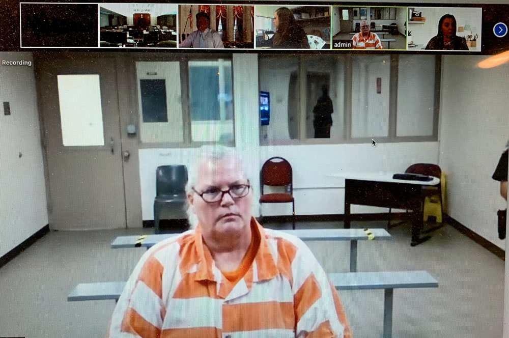 Dorothy Singer during her plea hearing today as she sat at the Flagler County jail, connected via Zoom to Circuit Judge Terence Perkins. (© FlaglerLive)