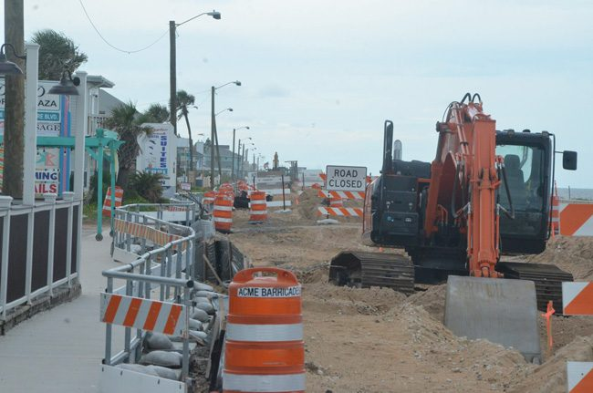 A Florida Department of Transportation official in charge of the A1A road construction project said Friday the hope was to complete the road, which has impeded business on A1A, before its November scheduled completion date. (© FlaglerLive)