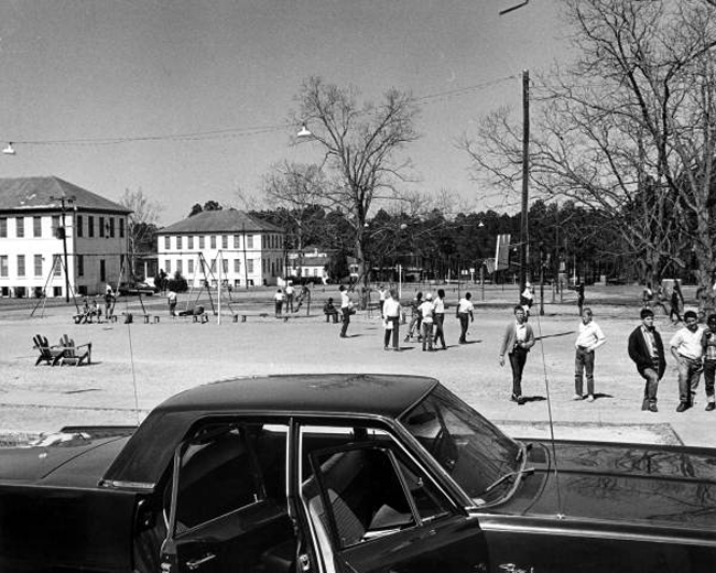 A playground and buildings at the old Arthur G. Dozier School for Boys in Marianna, Florida, in 1968. (Florida Memory)