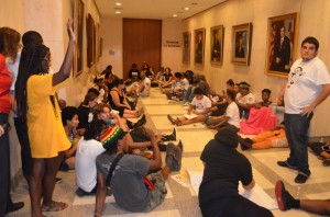 The Dream Defenders outside Scott's capitol office Thursday. Click on the image for larger view. (Facebook)