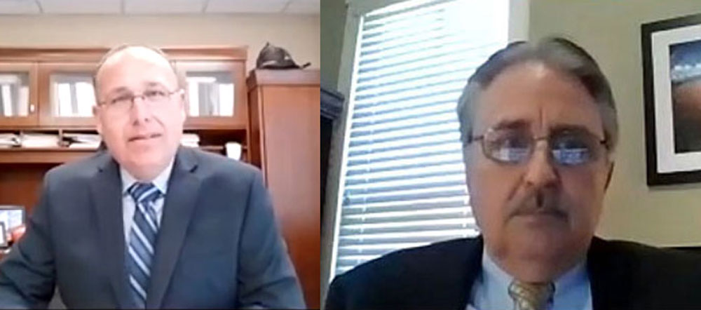Dru Driscoll, left, and William Whitson, seen here during their Zoom interviews with the Flagler Beach City Commission, are the finalists for the city manager's job. (© FlaglerLive via YouTube)