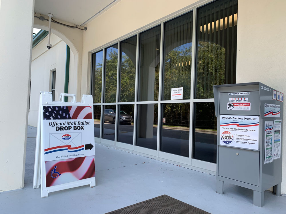 The drop box at the Flagler County Elections Supervisor's office in Bunnell. (© FlaglerLive)