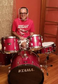 McCarthy and his drum set in a smart-phone screen capture. (Lori McCarthy)