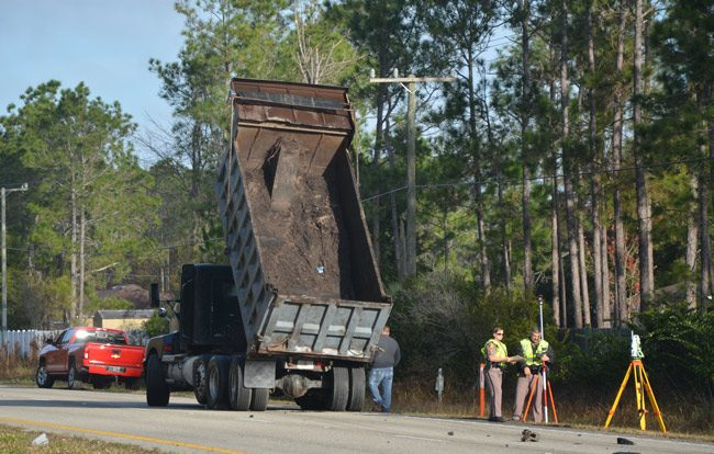 The dump truck is owned by Antonio Diaz of Palm Coast. (© FlaglerLive)