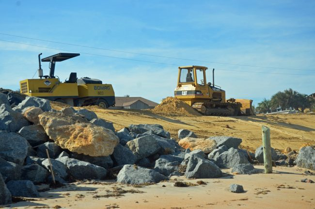 A different stage of dune-rebuilding. Click on the image for larger view. (© FlaglerLive)
