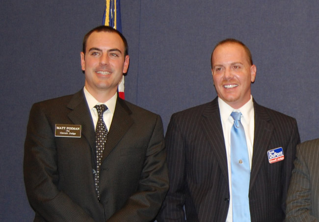 Then-judicial candidates Matthew Foxman, left, and Scott DuPont in an appearance at a B Bunnell forum during their first campaign in 2010. Both won. DuPont subsequently ignored Foxman's warnings about acting inappropriately in his second election campaign in 2016, warnings the Judicial Qualifications Commission cited among its evidence to recommend DuPont's removal, and warnings DuPont ignored. (© FlaglerLive)
