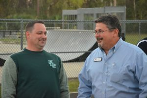 Dusty Sims with School Board member Andy Dance in March, before the pair joined a student-led march in response to the Parkland massacre. (© FlaglerLive)