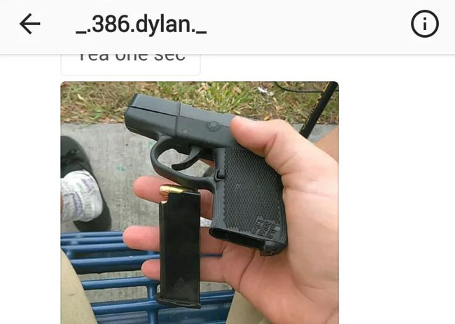 A screen shot from a text by Dylan Straub showing the gun he intended to sell in a meeting at Epic Theater last Friday, following which Straub claimed to have been the victim of an armed robbery.