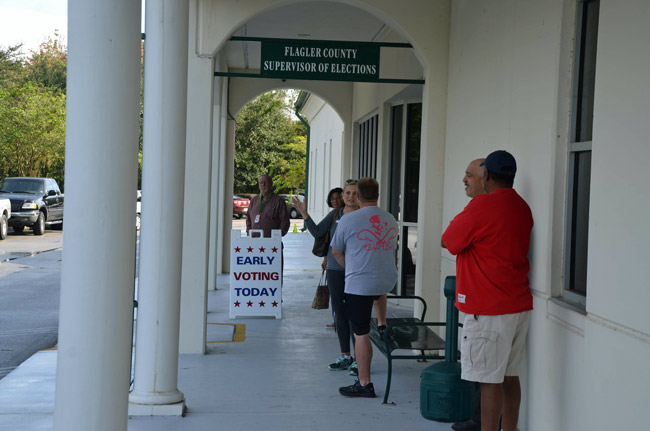 Early voting at the Flagler Supervisor of Elections office this week. (© FlaglerLive)