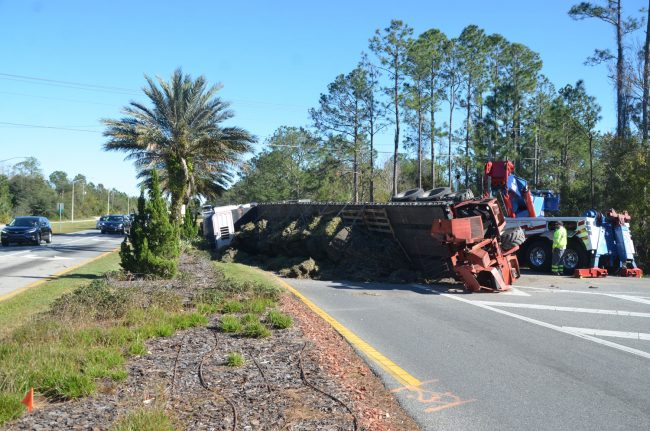 semi overturns palm coast parkway
