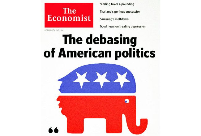 The Economist's covers have always been unequaled. Here's why. The above is the work of Jon Berkeley. The debasing of american politics.