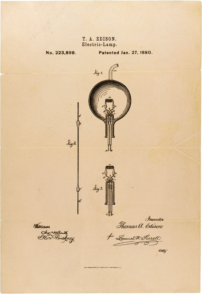 """thomas edison and the light bulb Edison's patent drawing for the incandescent light bulb credit: """"new jersey– the wizard of electricity–thomas a edison's system of electric."""