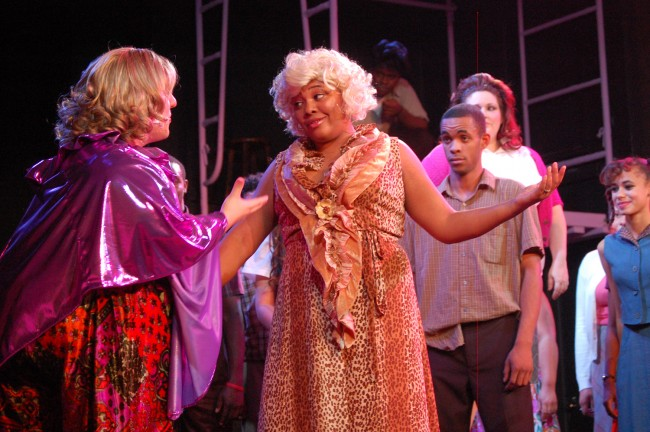 Not even Edna (Josh Fagundes) can convince Motormouth (Laniece Wilson) to extend 'Hairspray' yet again, though it's been the Flagler Playhouse's most acclaimed show. Wardrobes aside, Fagundes and Wilson are an item off-stage. (© FlaglerLive)