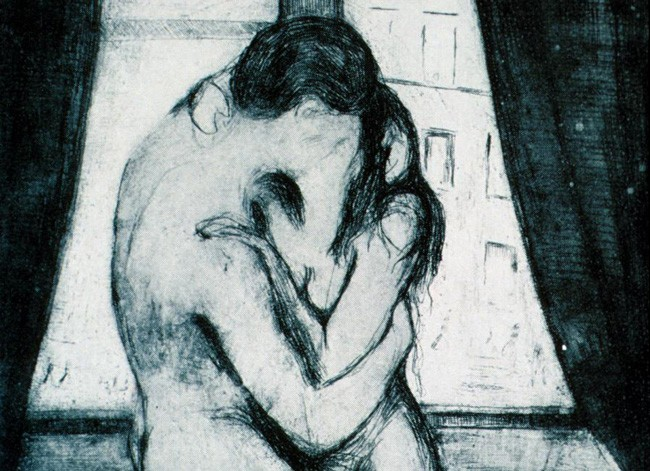 Detail from Edvard Munch's 'The Kiss' (woodcut, 1897-1902)