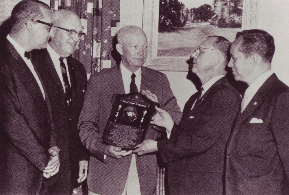 Dwight Eisenhower receiving the Eisenhower Civitan World Citizenship Award in 1966. (Wikimedia Commons)
