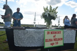 """The display was prepared by a group that had traveled from the Tampa area, and was gathered under the death penalty """"supporters"""" banner, a sign that actually bore that word, and is set out there by authorities. Click on the image for larger view. (c FlaglerLive)"""