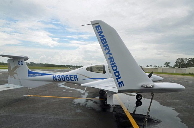 The Diamond twin-engine Embry-Riddle training plane that lost its door last week, at the Flagler County Executive Airport today. (© FlaglerLive)