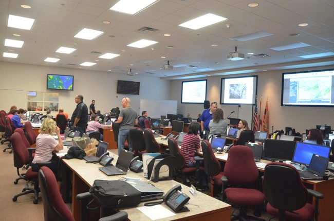 The Emergency Operations Center in action during the Hurricane Matthew emergency. (c FlaglerLive)