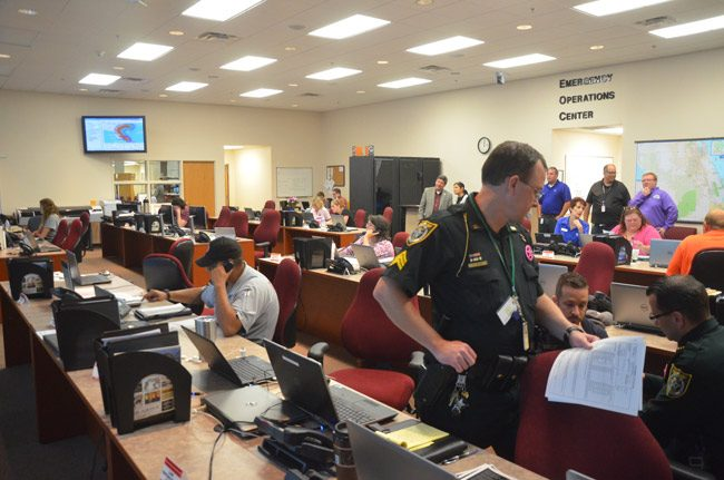 The Emergency Operations Center about a day and a half before Hurricane Matthew's arrival offshore. (© FlaglerLive)