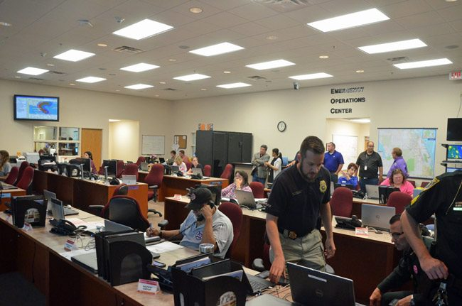 The Emergency Operations Center the night before Hurricane Matthew skirted the coast of Flagler, before its wobble away from what, on Oct. 6, was still projected to be a direct hit. (© FlaglerLive)