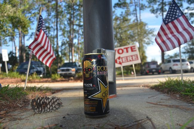 It takes energy to vote--and to campaign: an energy drink near where candidates and their supporters were campaigning at the Palm Coast branch of the county library, an early voting site, earlier this week. (© FlaglerLive)