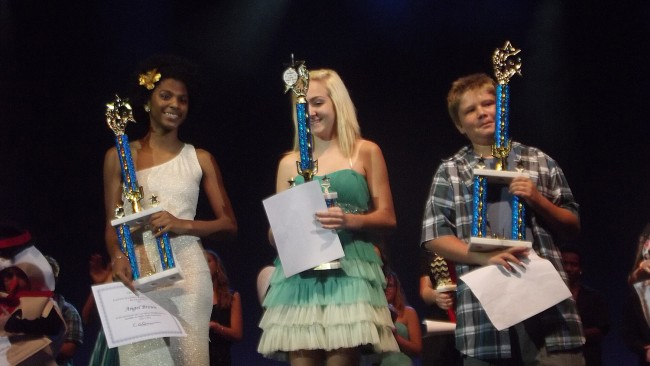 Your 2014 Flagler County Entertainers of the Year. From left, enior Division: Angel Brown (MHS), Middle School Division: Kayla Byrne (ITMS), and Elementary Division: Skyler Wahl (Home Schooled). Click on the image for larger view. (Cheryl Massaro)
