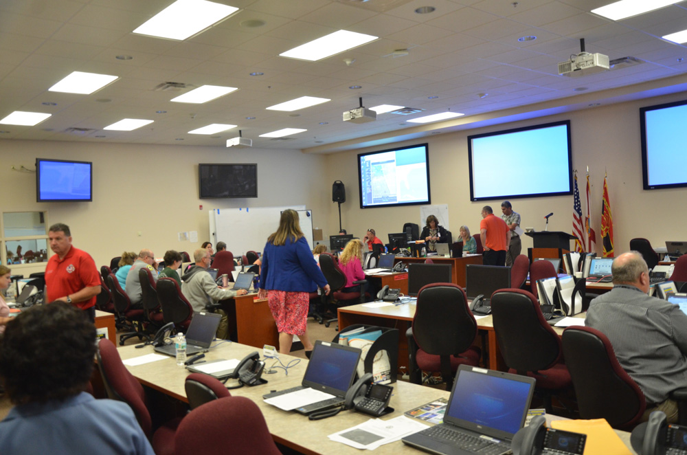 Flagler's Emergency Operations Center in full activation during Hurricane Matthew. (c FlaglerLive)