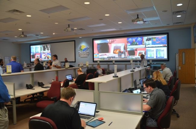 Flagler County's Emergency Operations Center was ramping up this afternoon. (c FlaglerLive)