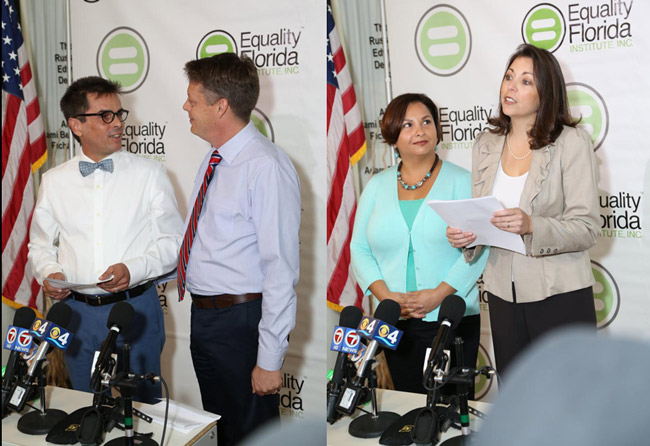 At left, Don Johnson and Jorge Diaz, and Cathy Pareto and Karla Arguello. (Equality Florida)