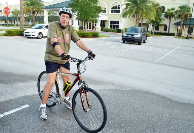 Ericksen and his Trek 7100. Click on the image for larger view. (© FlaglerLive)