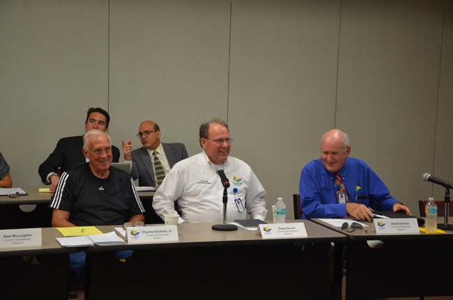 County Commissioners Charlie Ericksen, Greg Hansen and Dave Sullivan say they won;t change their mind regarding a ban on medical marijuana dispensaries come Dec. 18, when they will vote on the matter again. (© FlaglerLive)