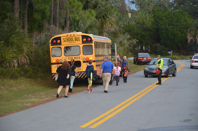 Children were escorted to a waiting replacement bus, and were on their way by 5 p.m. (FlaglerLive)
